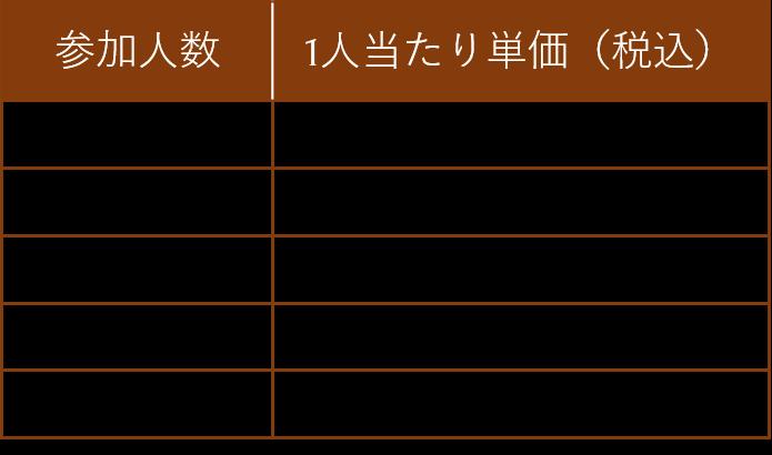 団体観光客向けレッスン:料金表